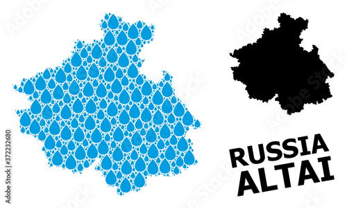 Fotografiet Vector Collage Map of Altai Republic of Liquid Tears and Solid Map