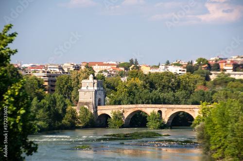 Milvian Bridge on river Tiber in Rome, Italy Canvas Print