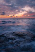 Long Exposure Sea And Rocks At...