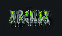 Archie. A Cool Graffiti Styled Name Design. Legible Letters For All Ages.