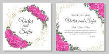 Floral Wedding Design. Lovely Pink Hydrangea, Green Leaves.
