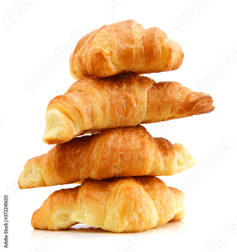Fototapeta Fresh and tasty croissant over white background