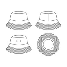 Template Bucket Hat Illustration Flat Design Outline Template Clothing Collection