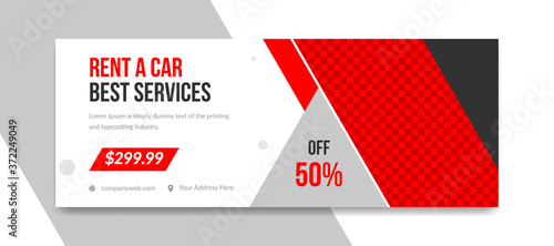 Photo Rental car social media and facebook cover post template