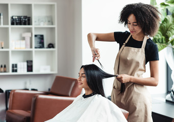 Young black hairdresser cutting hair of female customer at salon