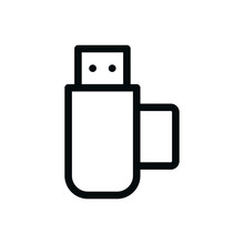 USB Micro Sd Card Reader Isolated Icon, Flash Drive Memory Card Reader Outline Vector Icon With Editable Stroke
