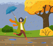 Autumn Cartoon Girl Holding An Umbrella, Having Fun In The Rain, Running And Jumping Through Puddles. Woman Catches Leaves That Fall From The Tree Like Rain. Rainy Cool October Weather And A Happy Kid