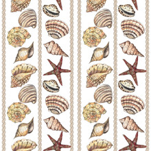 Watercolor Hand Drawn Artistic Colorful Undersea Ocean Beach Life Nautical Seamless Color Pattern