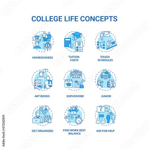 Obraz na plátne College life turquoise concept icons set