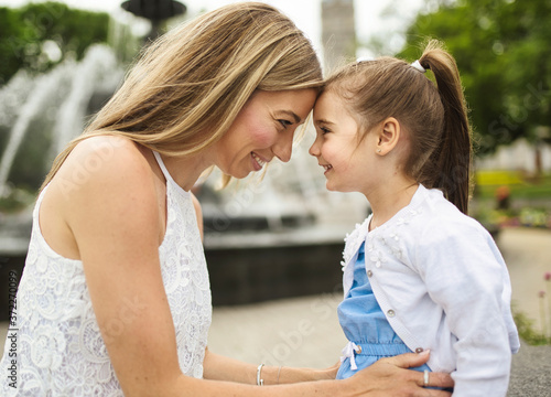 Canvas Print Happiness mother with her daughter on the day time