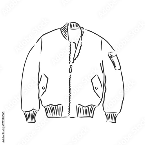 Fotografia, Obraz bomber sketch. bomber jacket, vector sketch illustration