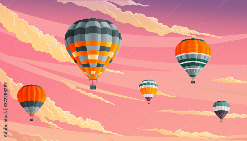 Fototapeta Hot air balloons in clouds against a lilac cloudy sky. Striped hot air balloons festival vector illustration. Beautiful sight several colored bright balls in the sunset sky. Romantic flight, travel