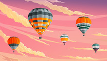 Hot Air Balloons In Clouds Aga...