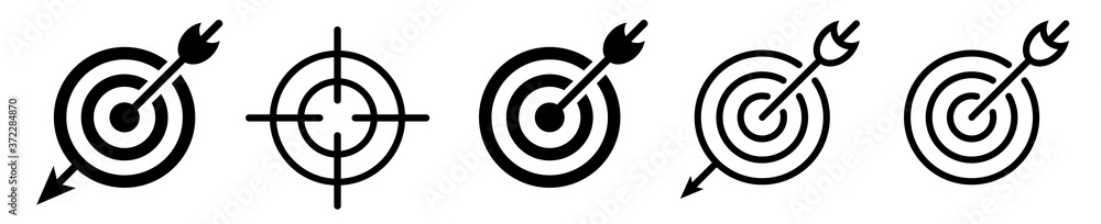Fototapeta Target icon vector set. Goal icons.  Target with arrow – set isolated on white background