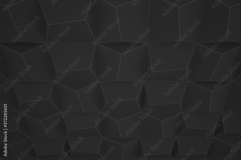 Trigonal abstract shapes background. Low poly triangles mosaic. Black and white crystals backdrop.
