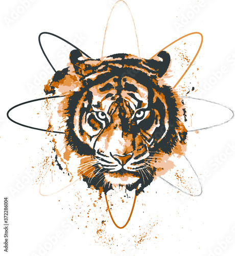 tiger head vector illustration Tableau sur Toile