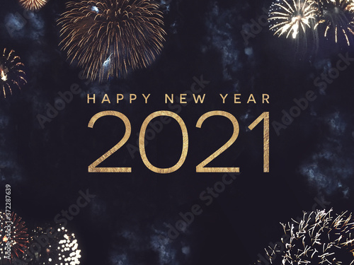 Obraz na plátne Happy New Year 2021 Text Holiday Graphic with Gold Fireworks in Night Sky