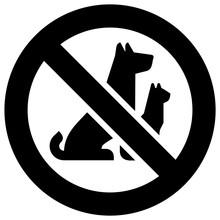 No Pets Forbidden Sign, Modern Round Sticker
