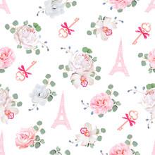 Romantic Paris Seamless Vector...