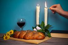 Shabbat Shalom. Challah Bread,...