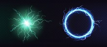 Electric Ball, Round Lightning Frame, Blue Thunderbolt Circle Border, Magic Portal, Energy Strike. Green Plasma Sphere, Powerful Electrical Isolated Discharge Dazzle, Realistic 3d Vector Illustration