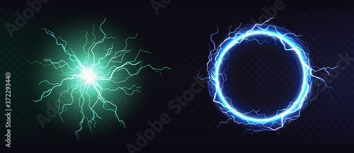 Obraz Electric ball, round lightning frame, blue thunderbolt circle border, magic portal, energy strike. Green plasma sphere, powerful electrical isolated discharge dazzle, Realistic 3d vector illustration - fototapety do salonu