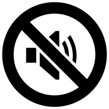No Sound Forbidden Sign, Modern Round Sticker