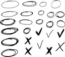 Set Of Hand Drawn Circles, Cro...