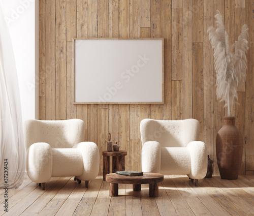Mockup frame in farmhouse living room interior, 3d render Billede på lærred
