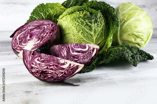 Three fresh organic cabbage heads Canvas