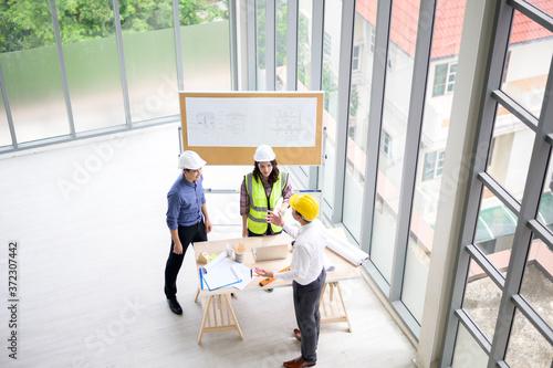 Top view of engineering people are meeting , Engineering people, corporate working, teamwork concept Tapéta, Fotótapéta
