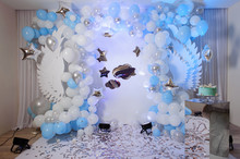 Blue Photo Zone With Balloons, Wings And Cake On Birthday Party