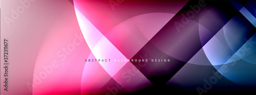 Vector abstract background - circle and cross on fluid gradient with shadows and light effects Fototapete