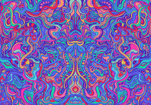 Amazing Colorful Hippie Trippy Psychedelic Abstract Mandala With Many Intricate Wavy Ornaments, Bright Neon Multicolor Color Texture.