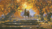 Samurai Riding A Horse In The Autumn Forest, Digital Art Style, Illustration Painting