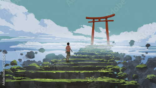 Obraz young boy walking up the stairs to the Torii gate, digital art style, illustration painting - fototapety do salonu