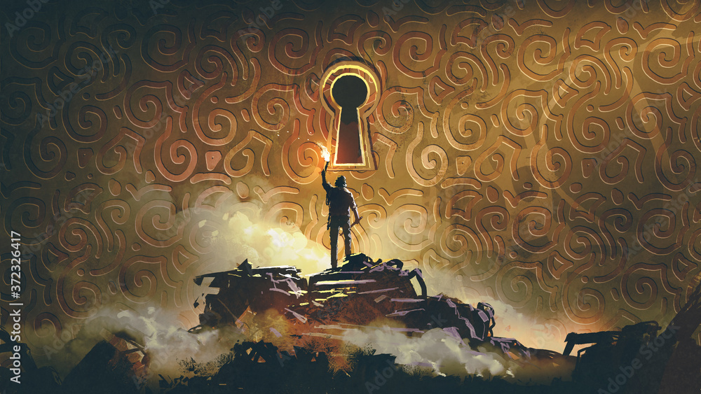 Fototapeta the adventure man with a torch standing and looking at a large keyhole on the brass wall, digital art style, illustration painting