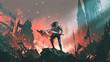Leinwandbild Motiv knight with twin swords standing on the rubble of a burnt city, digital art style, illustration painting