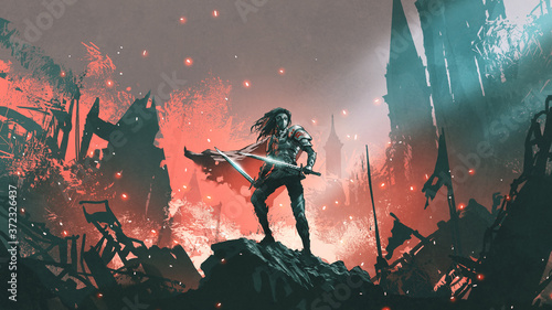 Leinwand Poster knight with twin swords standing on the rubble of a burnt city, digital art styl