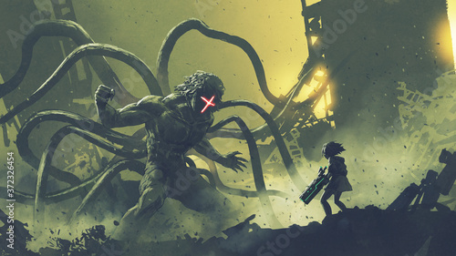 Fototapeta sci-fi scene of a girl facing the giant monster with tentacles, digital art styl