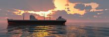 Cargo Ship Sailing Across The Ocean