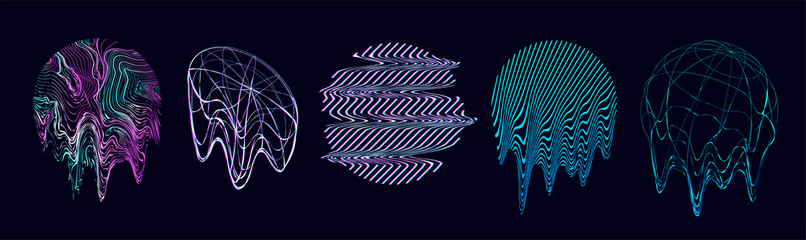 Retrofuturism shapes, circle glitch and liquid elements. Holographic illuminated in 80s-90s. Futuristic design vaporwave, synthwave. Trandy shapes for merch and T-shirt. Vector set glitch elements