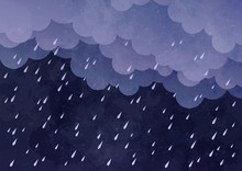 Cloud And Rain On Dark Background. Watercolor On Paper Craft Style. Vector Illustration.