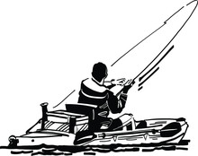 Silhouette Of A  Fisherman On The Kayak