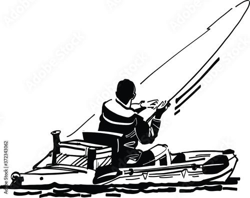 Obraz na plátně Silhouette of a  fisherman on the kayak
