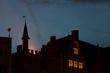 Silhouette Of Castle By Night In Bruges