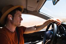 Caucasian Man Driving