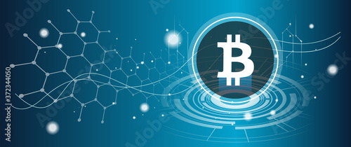Fotografia Bitcoin symbol with crypto currency themed background design