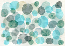 Watercolor Green And Blue Circ...