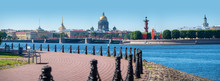Visit Card Of Saint Petersburg. Panorama Of St. Petersburg On A Summer Day. Russia. Sights Of St. Petersburg. Admiralty. Isaakievsky Cathedral. Rostral Column. Kunstkammer. Vasilievsky Island.